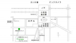 Frangeへのゆきかた地図。駅から徒歩2分です。